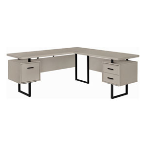 Taupe and Black 71-Inch L-Shaped Computer Desk