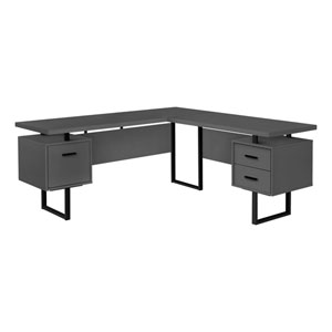 Gray and Black 71-Inch L-Shaped Computer Desk