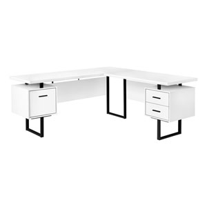 White and Black 71-Inch L-Shaped Computer Desk