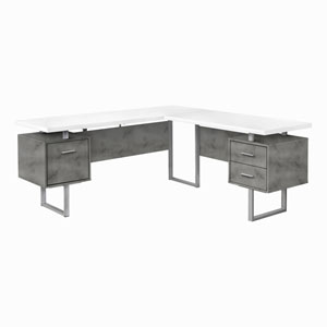 White and Silver 71-Inch L-Shaped Computer Desk