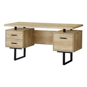 Natural and Black 60-Inch Rectangular Computer Desk