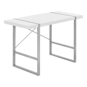 White and Silver 24-Inch Rectangular Computer Desk