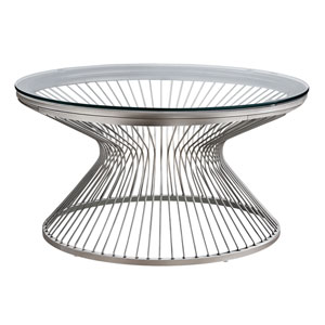 Silver Hourglass Base Coffee Table with Tempered Glass