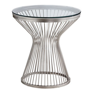 Chrome Hourglass Base End Table with Tempered Glass