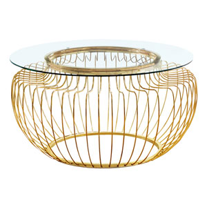 Gold Coffee Table with Tempered Glass