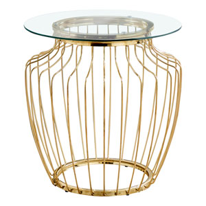 Gold End Table with Tempered Glass