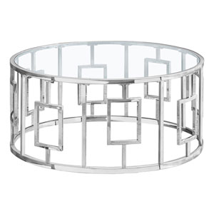 Silver Coffee Table with Tempered Glass