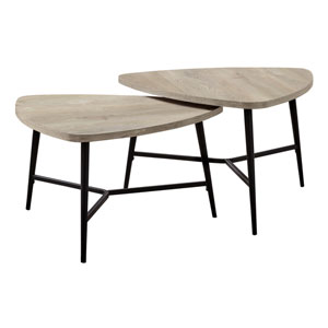 Taupe and Black Nesting Table, Set of 2