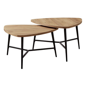 Golden Pine and Black Nesting Table, Set of 2