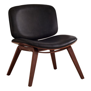 Black and Dark Brown Armless Chair