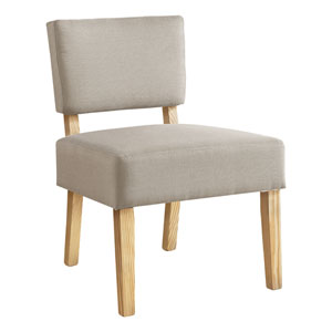 Taupe and Natural Armless Chair