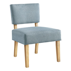 Light Blue and Natural Armless Chair
