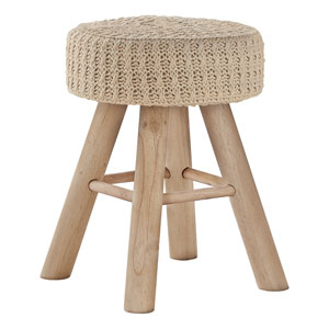 Natural and Beige Knit Ottoman