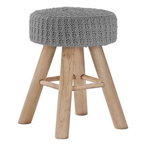 Natural and Gray Knit Ottoman