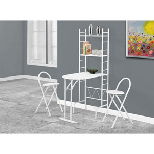 Dining Set - 3 Piece Set / White Top / White Metal