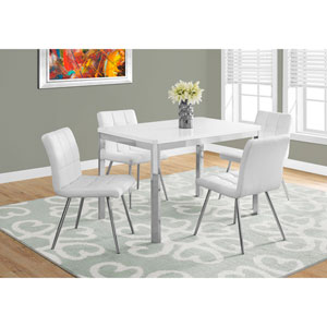 Dining Table - White / Chrome Metal