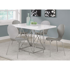 Dining Table - White Glossy / Chrome Metal