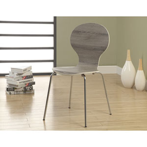 Dining Chair - 4 Piece / 34H / Dark Taupe with Chrome Metal