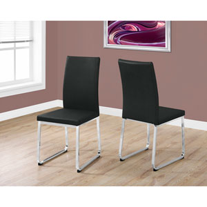 Dining Chair - 2 Piece / 38H / Black Leather-Look / Chrome