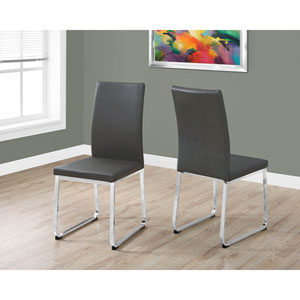 Dining Chair - 2 Piece / 38H / Grey Leather-Look / Chrome