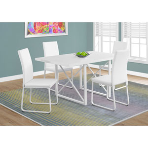 Dining Table - White Glossy / White Metal