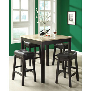 Dining Set - 5 Piece / Cappuccino with Beige Marble Top