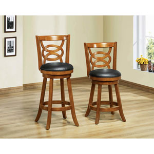 Barstool - 2 Piece / 39H / Swivel / Oak Counter Height