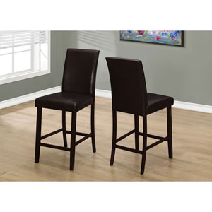 Dining Chair - 2 Piece / Brown Leather-Look Counter Height