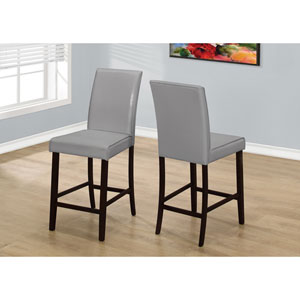 Dining Chair - 2 Piece / Grey Leather-Look Counter Height