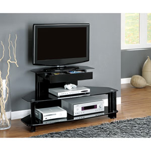 TV Stand - 48L / Glossy Black Wood / Metal / Tempered
