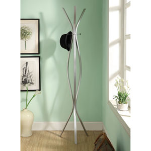 Coat Rack - 72H / Silver Metal Contemporary Style