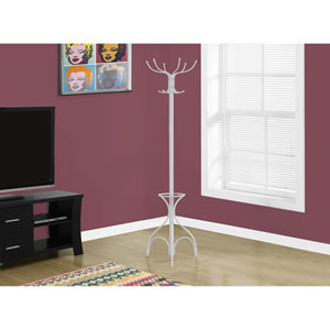 Coat Rack - 70H / White Metal with an Umbrella Holder