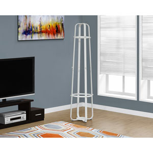 Coat Rack - 72H / White Metal with an Umbrella Holder