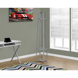 Coat Rack - 72H / Silver Metal with an Umbrella Holder
