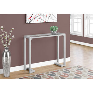 Accent Table - 42L / Silver /Tempered Glass Hall Console