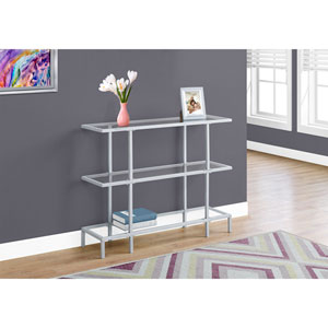 Accent Table - Silver /Tempered Glass Hall Console