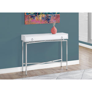 Accent Table - 42L / Glossy White / Chrome Hall Console