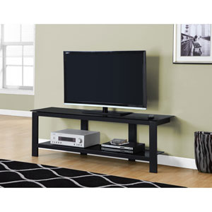TV Stand - Black Metal with Black Tempered Glass