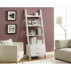 Bookcase - 69H / White Ladder with 2 Storage Drawers