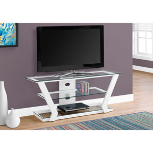 TV Stand - White Metal with Tempered Glass
