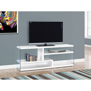 TV Stand - 60L / Glossy White with Tempered Glass
