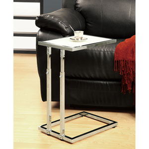 Accent Table - Chrome Metal Adjustable Height / Tempered