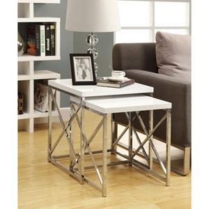 Nesting Table - 2 Piece Set / Glossy White / Chrome Metal