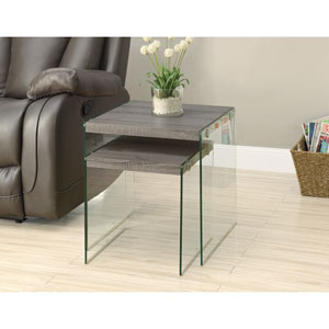 Nesting Table - 2 Piece Set / Dark Taupe / Tempered Glass