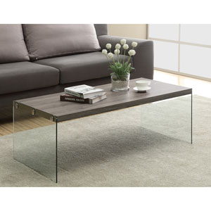 Coffee Table - Dark Taupe with Tempered Glass