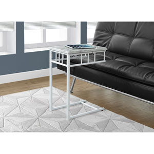 Accent Table - White Marble / White Metal