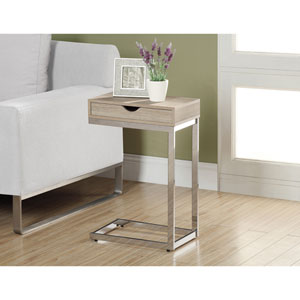 Accent Table - Chrome Metal / Natural with a Drawer