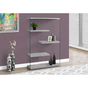 Bookcase - 60H / Grey Cement with Tempered Glass