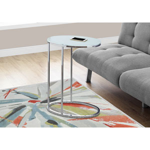 Accent Table - Oval / Chrome / Frosted Tempered Glass