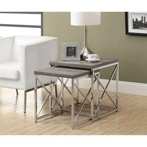 Nesting Table - 2 Piece Set / Dark Taupe with Chrome Metal